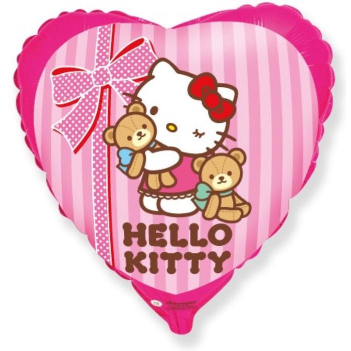"""Шар фольгированный 18"""" Hello Kitty """"Котёнок и любимые игрушки"""", сердце, 1 шт. в упаковке, розовый - фото 7639820"""
