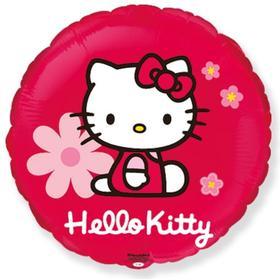 """Шар фольгированный 18"""" круг """"Hello Kitty. Котенок в цветах"""" красный, 1 шт. в упак."""