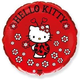 """Шар фольгированный 18"""" круг """"Hello Kitty. Котенок. Божья коровка"""" красный, 1 шт. в упак."""