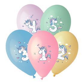 """Шар латексный 14"""" """"Цифры для девочки 1-5"""", 1-сторонний, пастель, набор 25 шт., МИКС"""