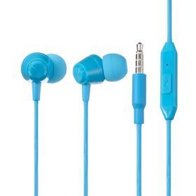 Наушники Deppa Stereo K-Pop, вакуумные, микрофон, 16 Ом, 3.5 мм, 1.2 м, голубые