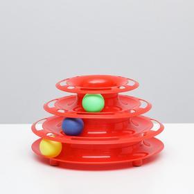 """Игровой комплекс """"Пирамида"""" для кошек с 3 шариками,15 x 24 x 13,2 см, красный"""