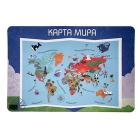 Накладка на стол пластик А2, Обучающая, 640 х 430 мм, 400 мкм, НПД-3, «Карта Мира»
