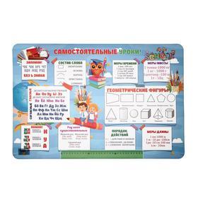 Накладка на стол пластиковая, А2, Обучающая, 640 х 430 мм, 400 мкм, НПД-3, «Самостоятельные уроки»