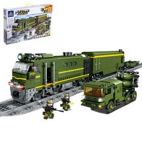 Конструктор железная дорога «Военный Поезд», работает от батареек, 1174 детали