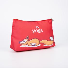 A simple cosmetic bag, 23*7*13, zippered otd, unlined, Yoga foxes