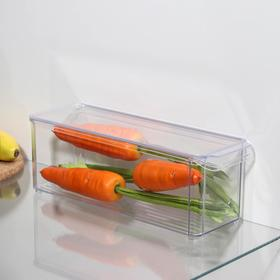 Органайзер для холодильника с крышкой IDEA, 10×30×10 см, цвет прозрачный