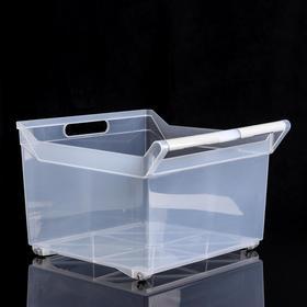 Органайзер для хранения с ручкой, 23 л, 38×38×26 см, на колёсиках, цвет прозрачный