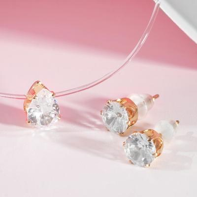 """Set 2 items: earrings, pendant"""" on a fishing line """" drop, color white in gold"""
