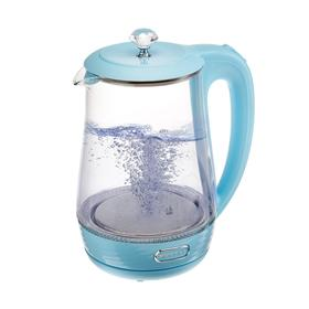 Чайник электрический KELLI KL-1404, стекло, 2200 Вт, 1.7 л, подсветка, голубой