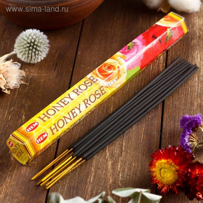 """Благовония """"HEM Honey Rose"""" (Мёд и роза), шестигранник, 20 палочек"""