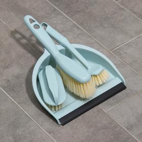 Набор для уборки, 4 предмета: совок, 3 щётки, 30×21×12 см, цвет МИКС