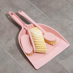 Набор для уборки, 4 предмета: совок, 3 щётки, 34×22,5×7 см, цвет МИКС