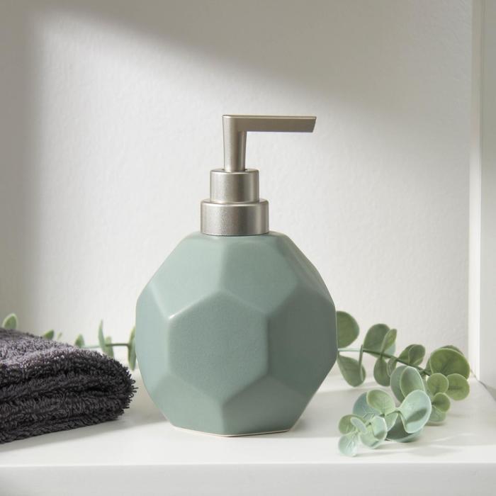 Дозатор для жидкого мыла «Геометрика», 350 мл, цвет зелёный - фото 9214578