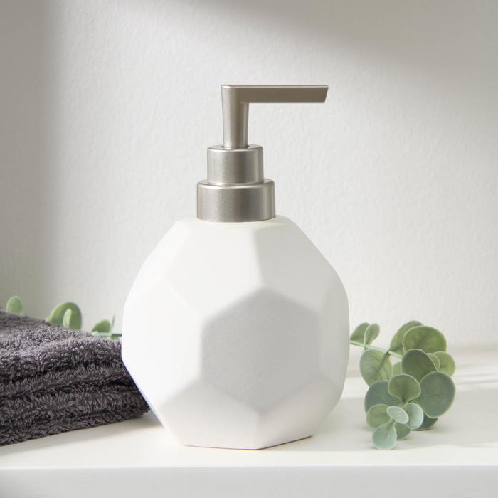 Дозатор для жидкого мыла «Геометрика», 350 мл, цвет белый - фото 9214580