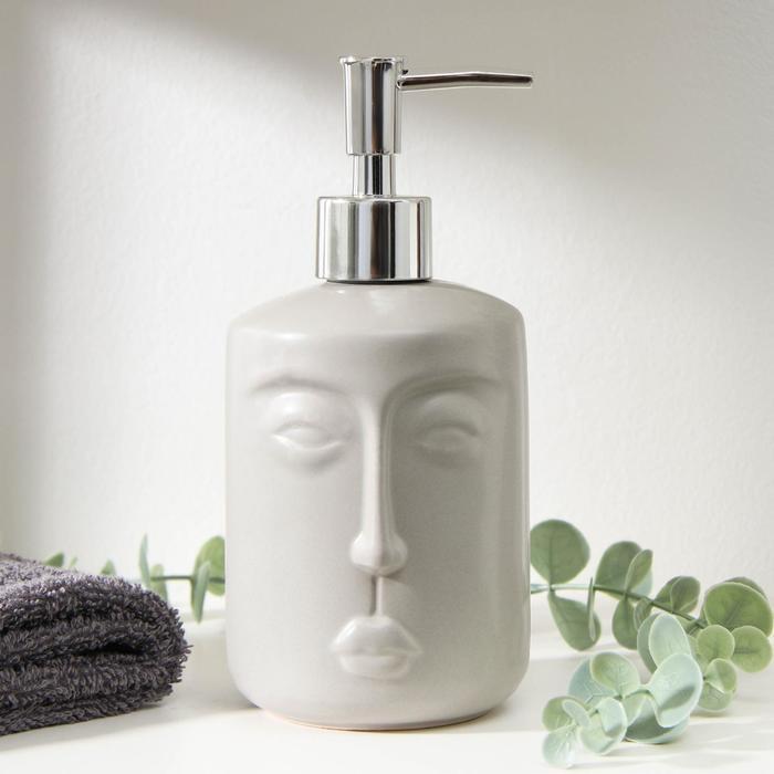 Дозатор для жидкого мыла «Тотем», 330 мл, цвет серый - фото 9214584