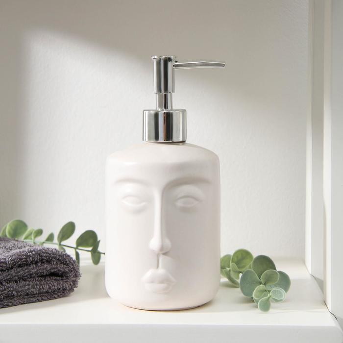 Дозатор для жидкого мыла «Тотем», 330 мл, цвет белый - фото 9214587