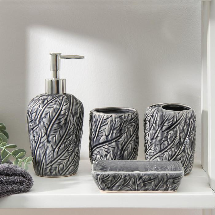 Набор аксессуаров для ванной комнаты «Грифон», 4 предмета (мыльница, дозатор для мыла, 2 стакана), цвет серый - фото 9214594