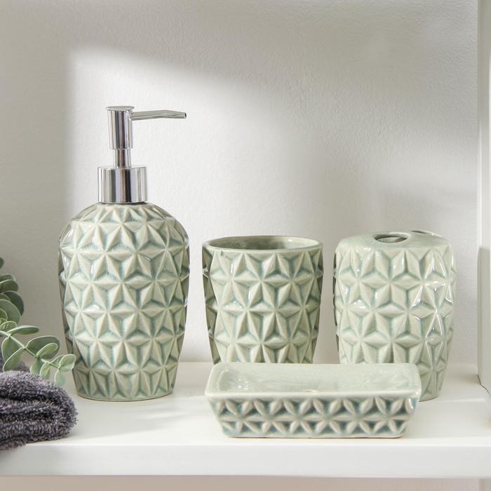Набор аксессуаров для ванной комнаты «Геометрика», 4 предмета (мыльница, дозатор для мыла 480 мл, 2 стакана) - фото 9214598