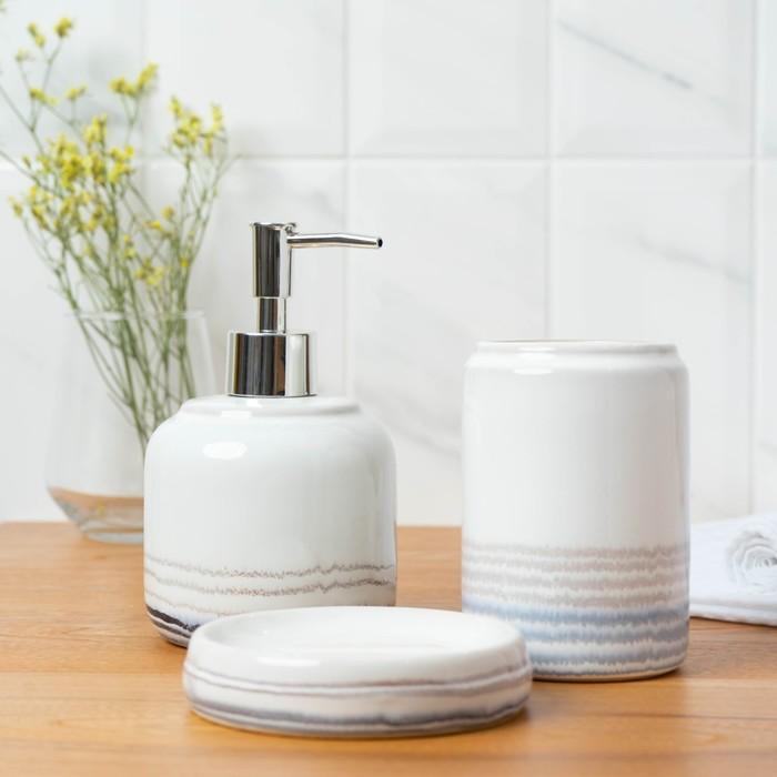 Набор аксессуаров для ванной комнаты «Жаклин», 3 предмета (мыльница, дозатор для мыла, стакан), цвет белый - фото 9214602
