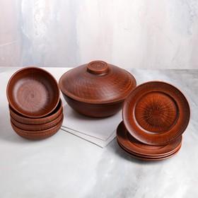Набор посуды из красной глины, 9 предметов: сковорода 3,5 л, глубокие тарелки 0.8 л, плоские тарелки 20 см