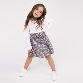 Платье для девочки, цвет серый/розовый, рост 104-110 см
