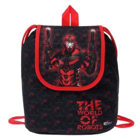 Мешок-рюкзак для обуви, с клапаном, 29 х 22 х 13.5 мм, «Оникс», СР-04, «Робот красный»