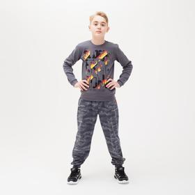 Брюки для мальчика, цвет серый/камуфляж, рост 98-104 см (28)