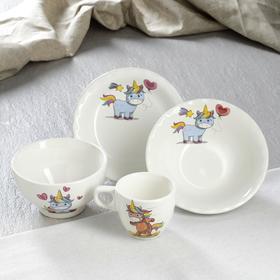 "Столовый набор ""Единорог"", 4 предмета: чашка 0.2 л, пиала 0.6 л, тарелка 17см, тарелка 0.45, микс"
