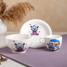 "Столовый набор ""Мишка"", 3 предмета: чашка 0.2 л, пиала 0.6 л, тарелка 17см, микс"