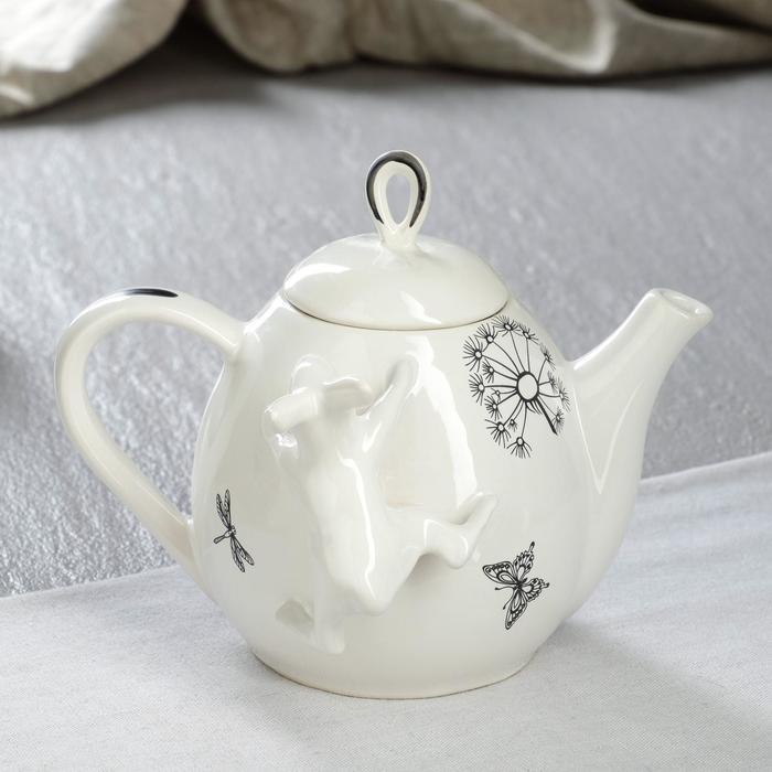 """Чайник для заварки """"Петелька"""", белый, зайчик и одуванчик, 0.8 л - фото 859975"""