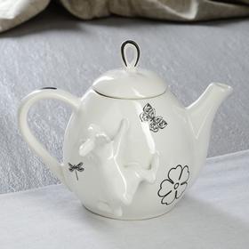 """Чайник для заварки """"Петелька"""", белый, зайчик и лютик, 0.8 л"""