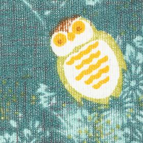 Ткань х/б маленькие совы на зеленом фоне