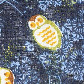 Ткань х/б маленькие совы на синем фоне