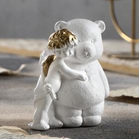 Angel with Teddy Bear Figurine Gold