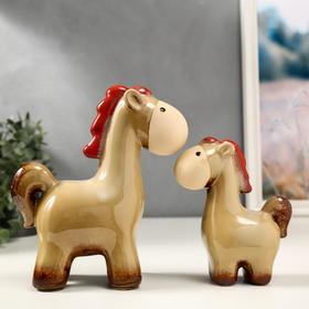 """Сувенир керамика """"Коняшки"""" набор 2 шт 15,5х12,5х5,3 21х18х9 см"""