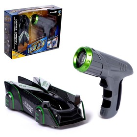 """Anti-gravity car """"Racer"""", laser control, battery, rides on walls, gray 52203"""