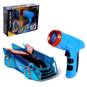 "Anti-gravity car ""Racer"", laser control, battery, rides on walls, blue 522036"