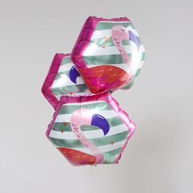 """Шар фольгированный многоугольник 20"""" """"Фламинго""""   набор 3шт."""