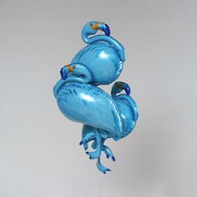 """Шар фольгированный 42"""" """"Фламинго"""", цвет голубой   набор 3шт."""