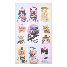 """Наклейки """"Кошки"""" глиттер, кот в пиджаке"""