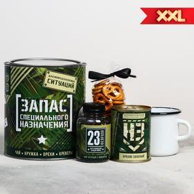 Подарочный набор «Запас специального назначения»: чай 50 г, кружка 350 мл, орехи 300 г, крекер 70 г