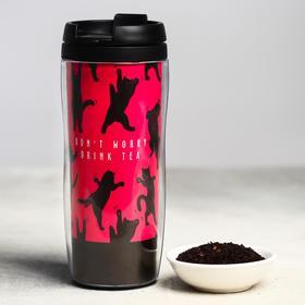 Чай чёрный «Котики», термостакан 350 мл, аромат лесные ягоды, 20 г