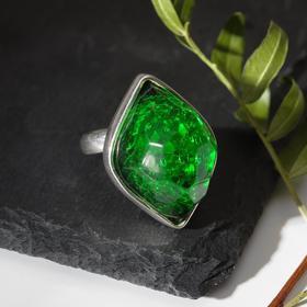 """Кольцо посеребрение """"Буранит"""" эллипс, цвет зелёный, безразмерное"""