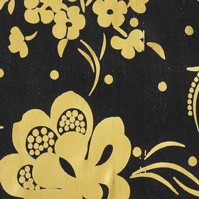 Ткань атлас черный с золотым рисунком, ширина 150 см