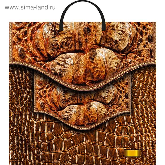 """Пакет """"Кожаная сумка"""", полиэтиленовый с пластиковой ручкой, 36 х 37 см, 100 мкм"""