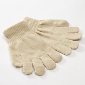 "Children's gloves MINAKU ""Plain"", color beige, r-r 16 (10-12 years old)"