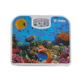 """Весы напольные DELTA  D-9409, механические, до 130 кг, рисунок """"подводный мир"""""""