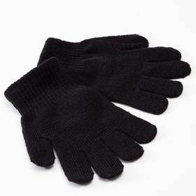 "Children's gloves MINAKU ""Plain"", color black, r-r 16 (10-12 years old)"