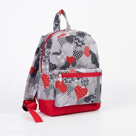 4818D 600 Children's backpack, 21*11*29, zippered compartment, n / a pocket, hearts red. on grey